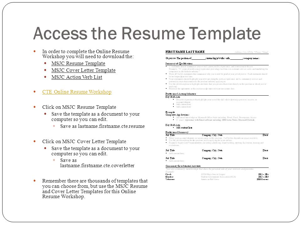 Access the Resume Template