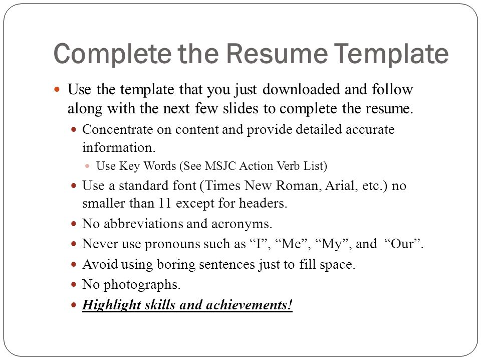 Complete the Resume Template