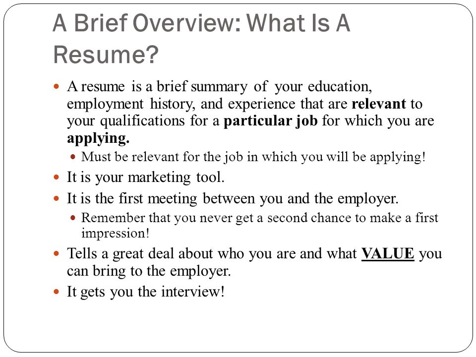 A Brief Overview: What Is A Resume
