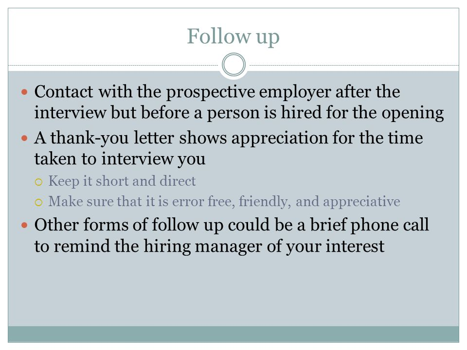 phone call after interview