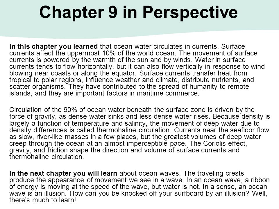 Chapter 9 in Perspective