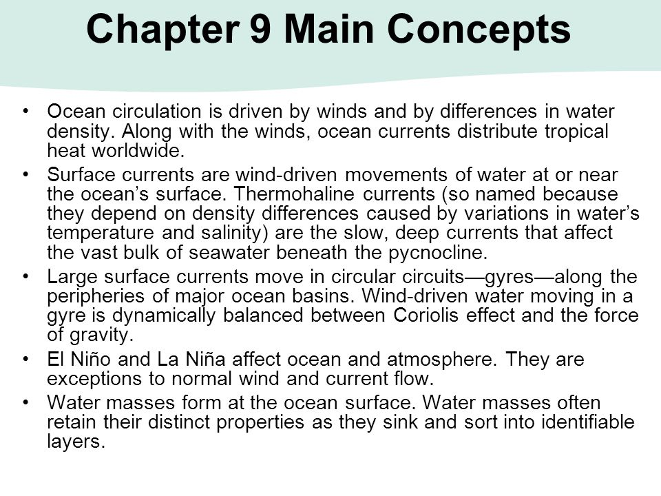 Chapter 9 Main Concepts