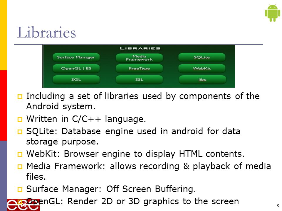 Libraries Including a set of libraries used by components of the Android system. Written in C/C++ language.