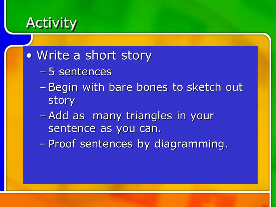 how to write 5 sentence story