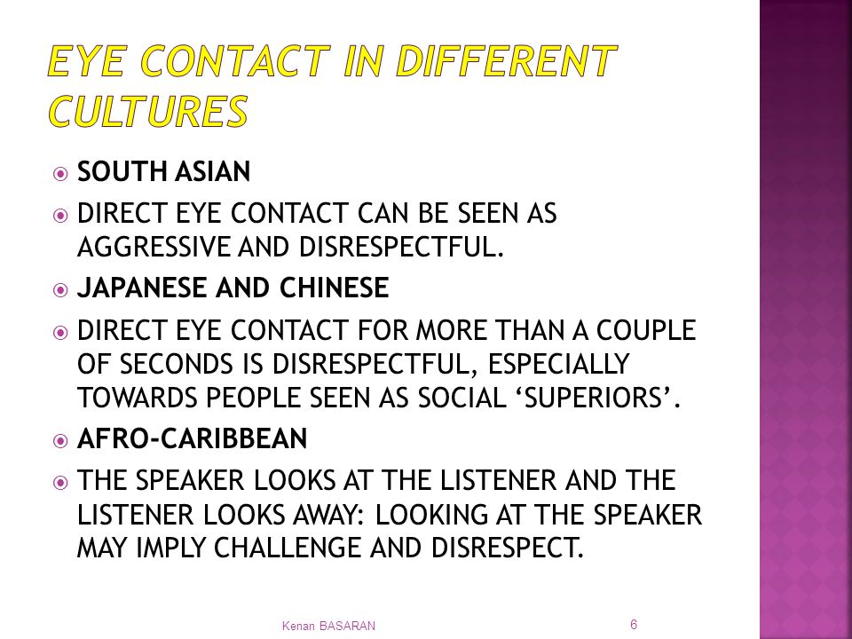 communication and direct eye contact If you are presenting, then you should aim to make eye contact with as many   they ask you questions and you should give a direct reply when you answer.
