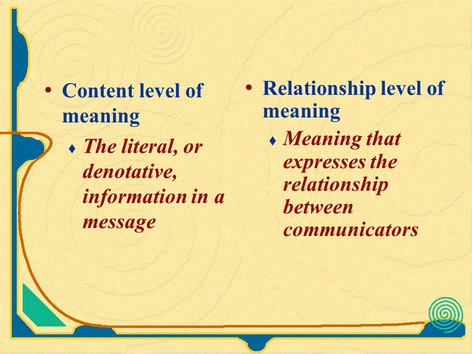 content and relationship level of meaning dictionary