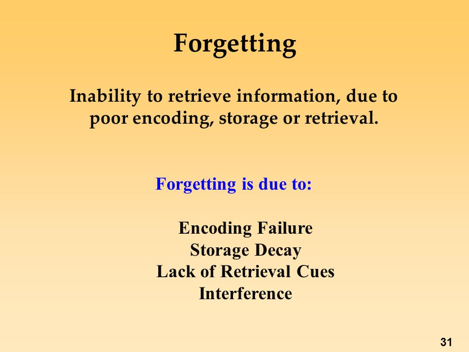 retrieval failure as a method of forgetting Why we forget by douglas b potts  storage failure would not be a reason for forgetting, but retrieval failure would  retrieval relearning is the method by .