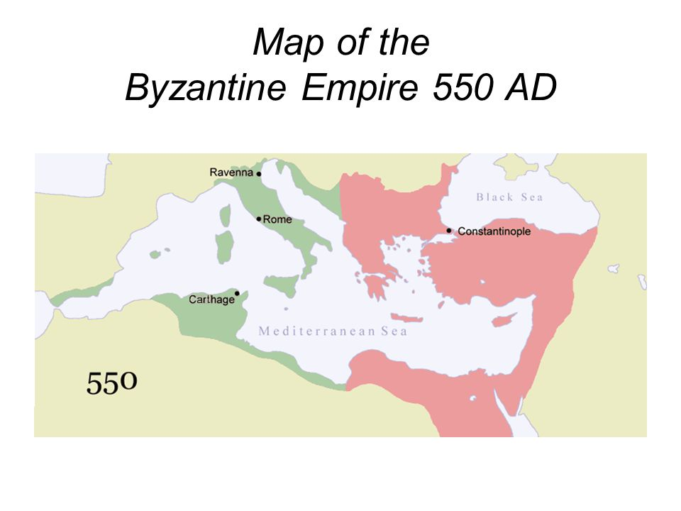 Map of the Byzantine Empire 550 AD