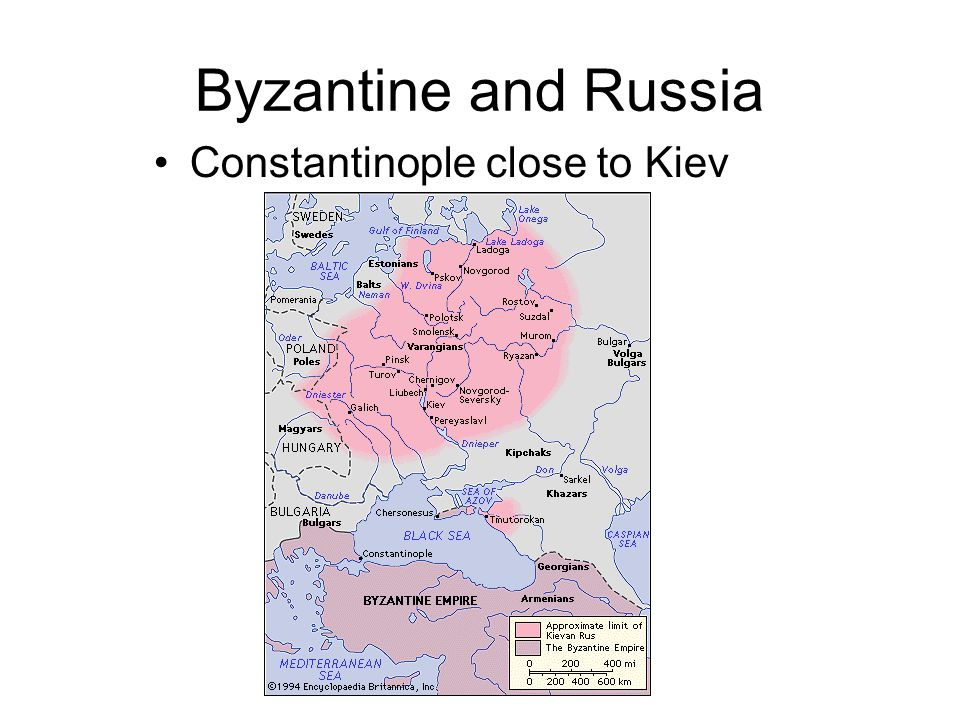 Byzantine and Russia Constantinople close to Kiev