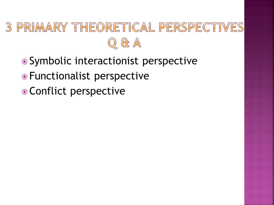 Functionalism v. The Conflict Theory v. Symbolic Interactionism