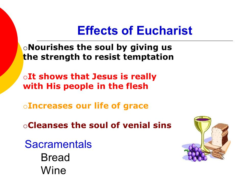 the effects of the holy eucharist 2014-6-3  what is eucharist by marilyn e bishop introduction  prepares people to receive jesus who comes in a special way in holy communion it is during.