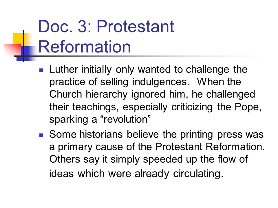 protestant reformation dbq essay Ap® european history 2006 scoring guidelines of the causes of the protestant reformation or this essay counter-reformation refers to the catholic.