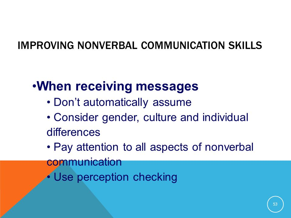 Nonverbal communication advice