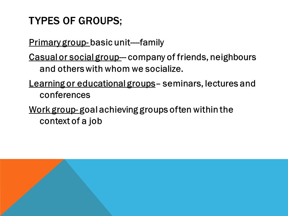 types of groups we belong to Section ii: the importance of social groups groups are important to sociologists because most of our day-to-day activities are spent in the company of other people in a group whether it be at home, at school, or at work.