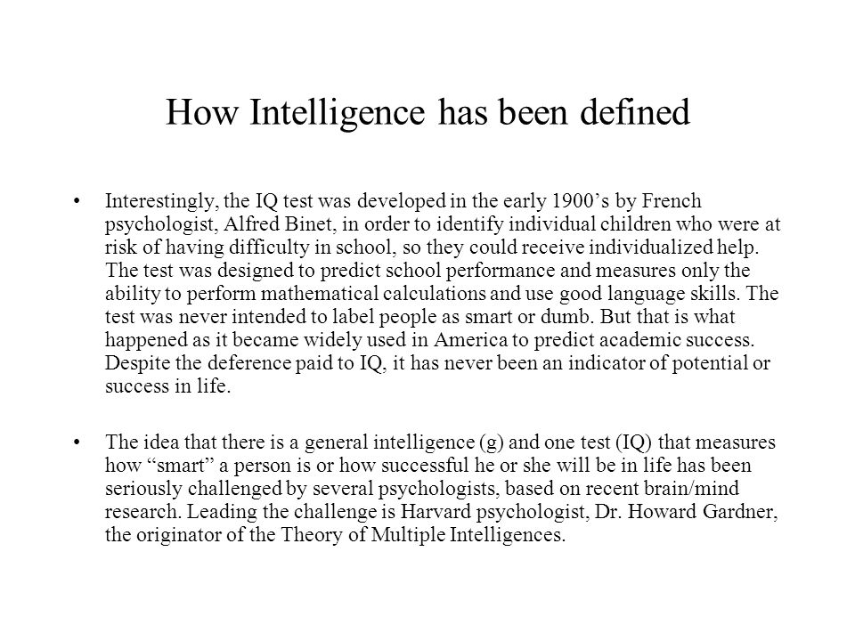 How Intelligence has been defined