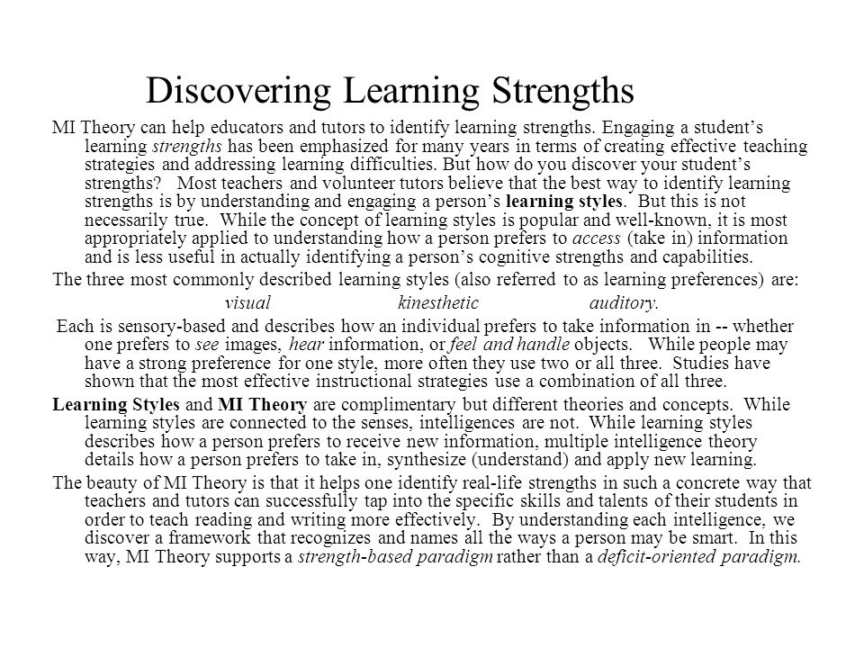 Discovering Learning Strengths