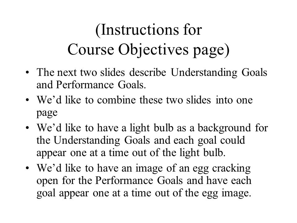 (Instructions for Course Objectives page)