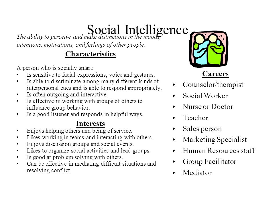 Social Intelligence Characteristics Careers Counselor/therapist