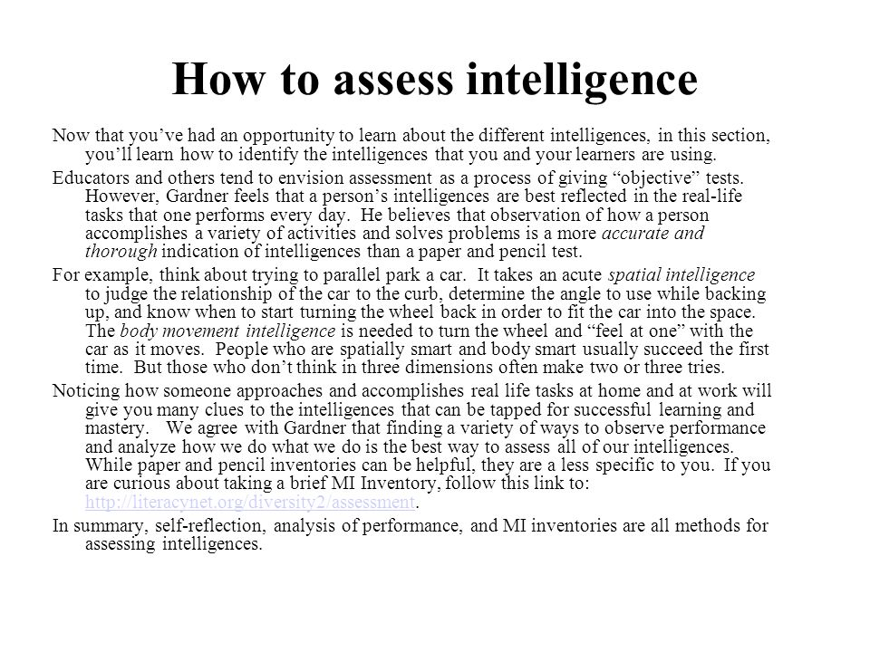 How to assess intelligence