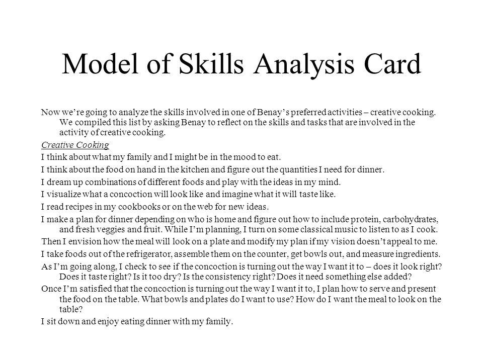 Model of Skills Analysis Card