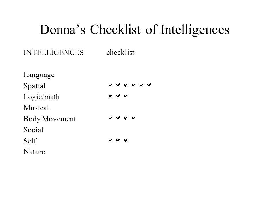 Donna's Checklist of Intelligences