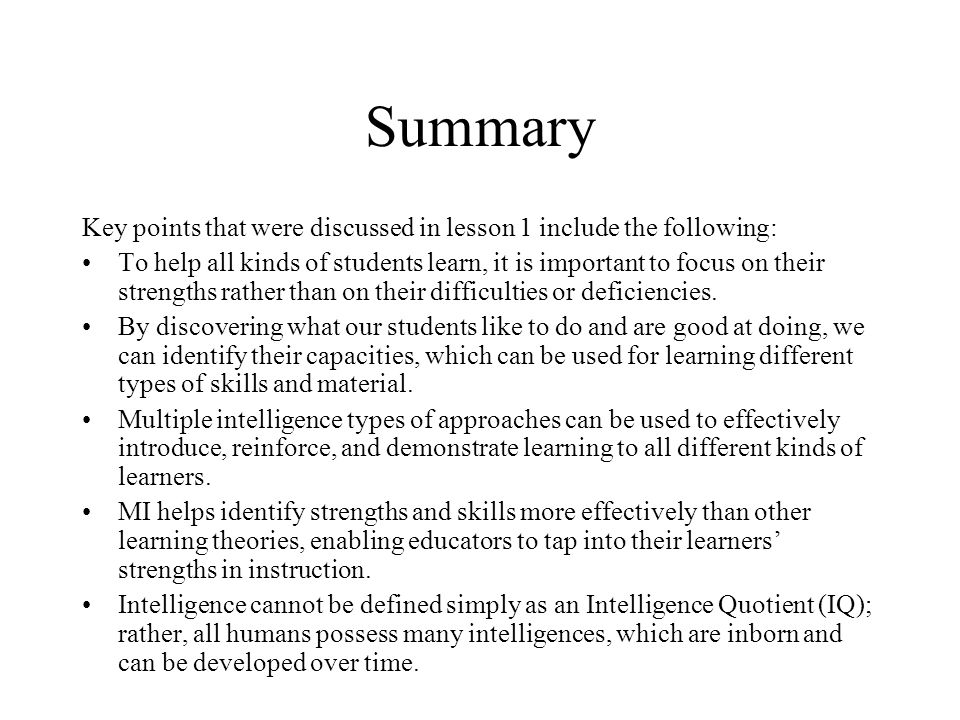 Summary Key points that were discussed in lesson 1 include the following: