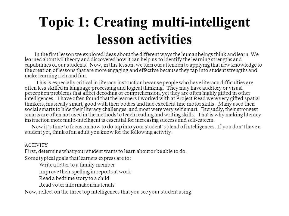 Topic 1: Creating multi-intelligent lesson activities