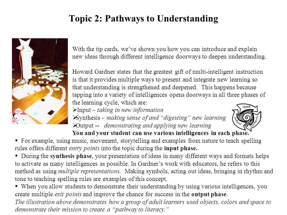Topic 2: Pathways to Understanding
