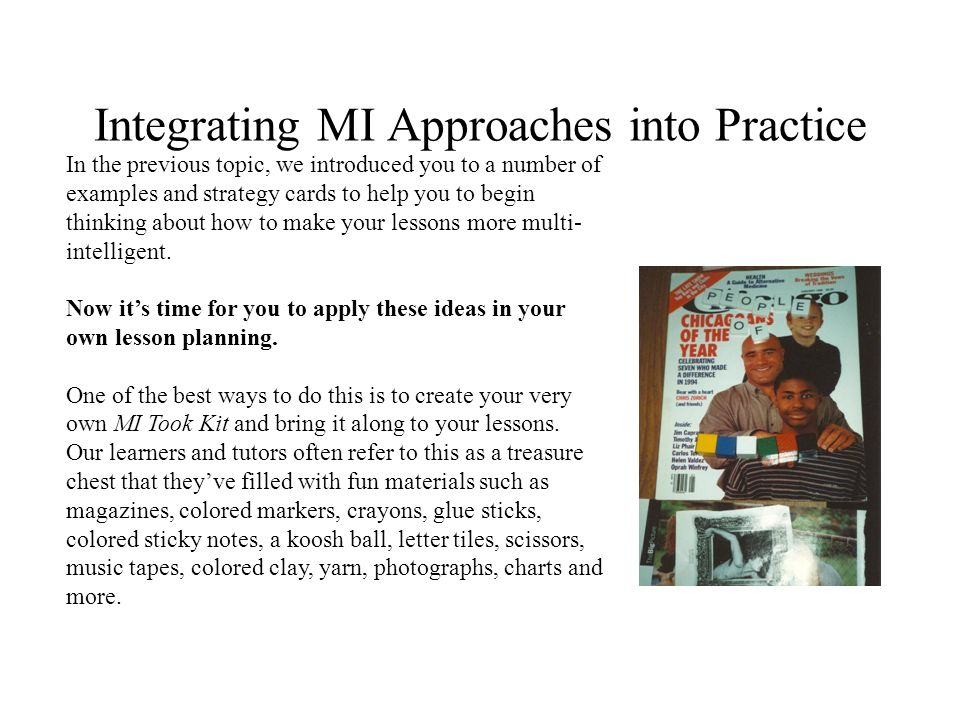 Integrating MI Approaches into Practice