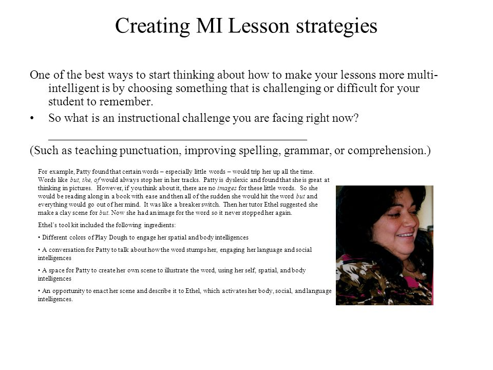 Creating MI Lesson strategies