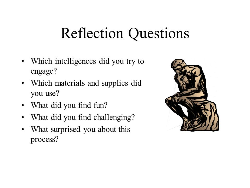 Reflection Questions Which intelligences did you try to engage