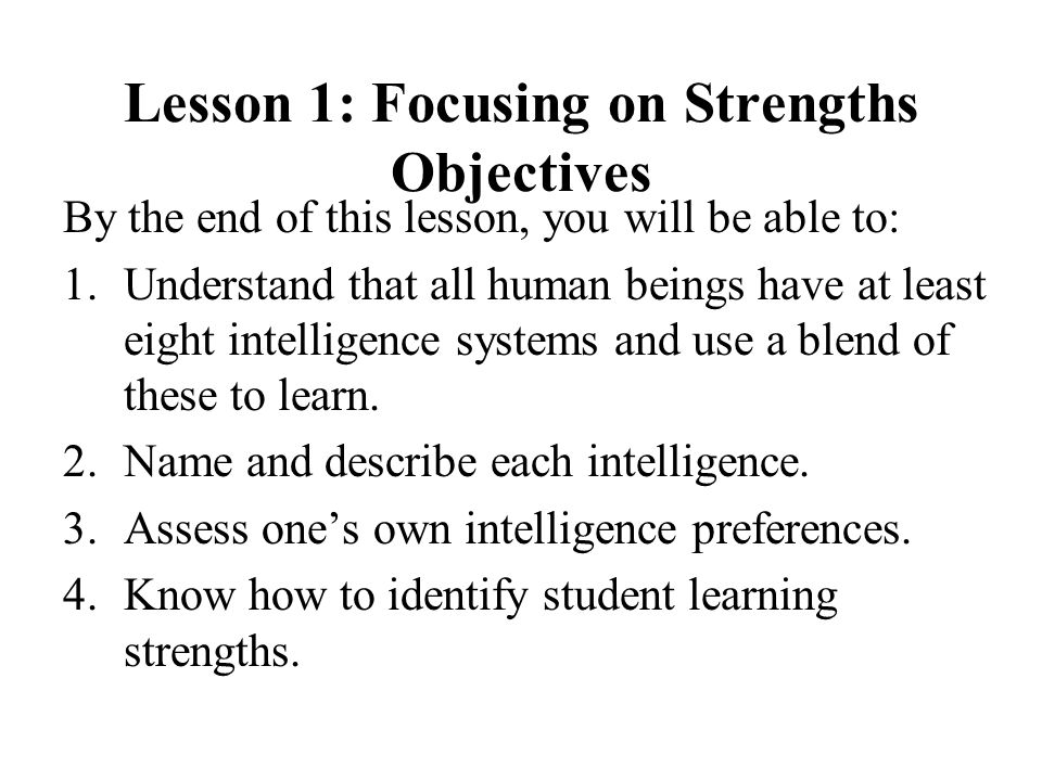 Lesson 1: Focusing on Strengths Objectives