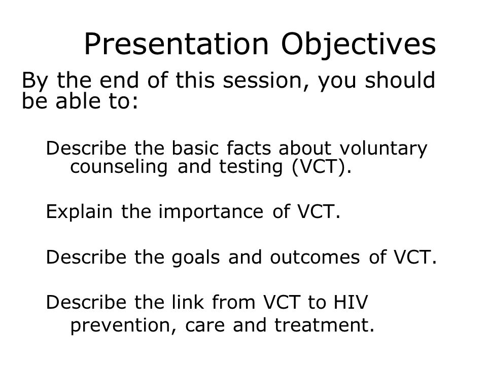hiv voluntary counseling and testing Voluntary counseling and testing (vct) is a major component of hiv prevention and care vct is also perceived to be an effective strategy in risk reduction among sexually active young people [ 1 ] a recent study in cameroon reported an hiv prevalence of 32% [ 2 ] among youths aged 15-24 and an estimated 43 to 59 million young people in the.