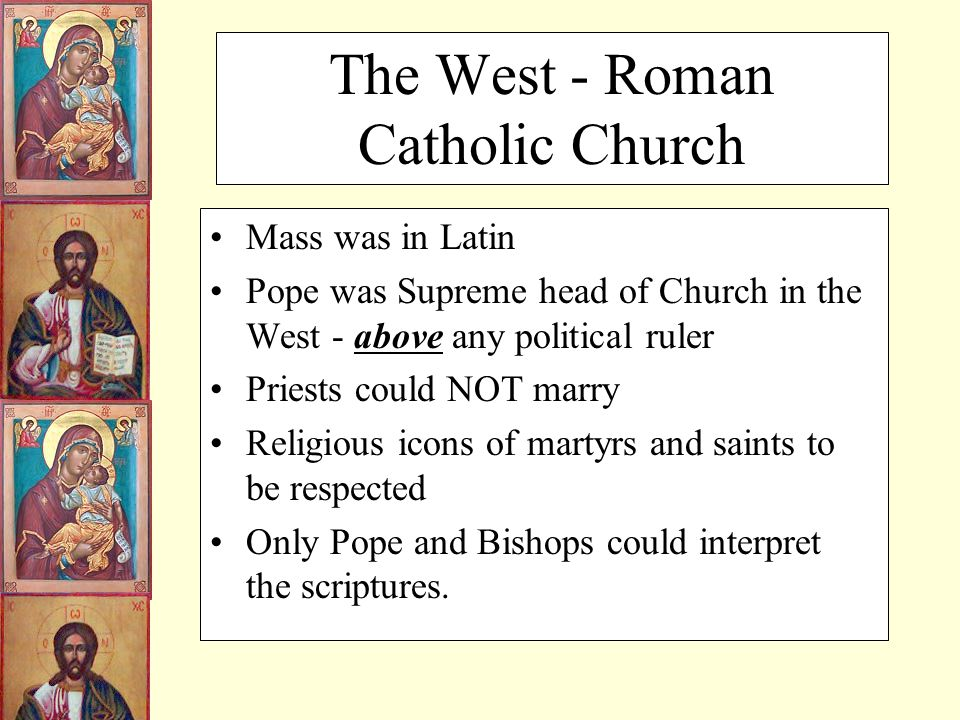 the eastern church vs the western The eastern church was the only church of the byzantine empire the eastern church was the church of the eastern part of the roman empire the western church.