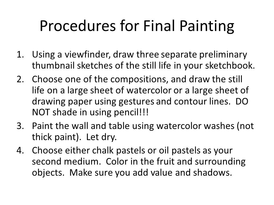 Procedures for Final Painting