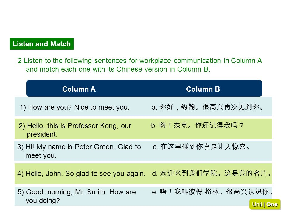and match each one with its Chinese version in Column B.