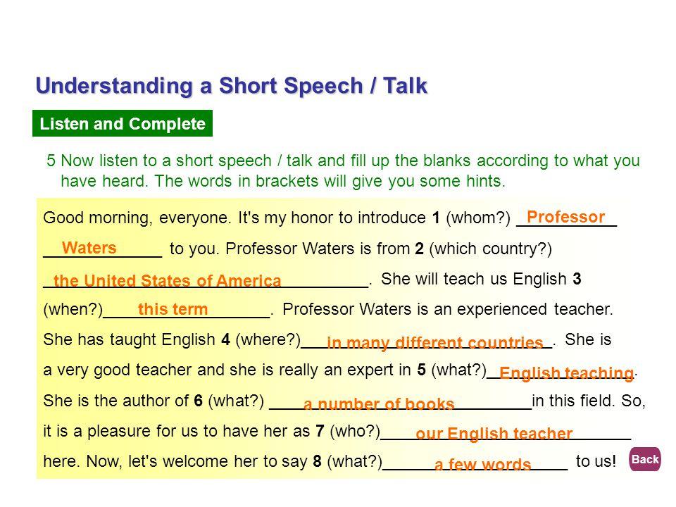 Understanding a Short Speech / Talk