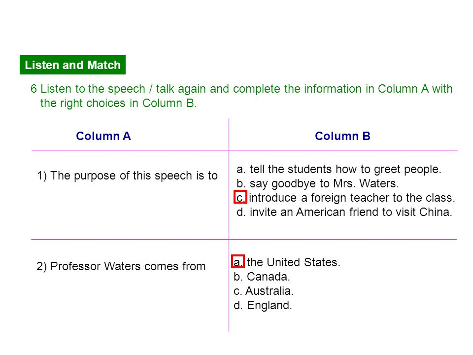 Listen and Match 6 Listen to the speech / talk again and complete the information in Column A with.