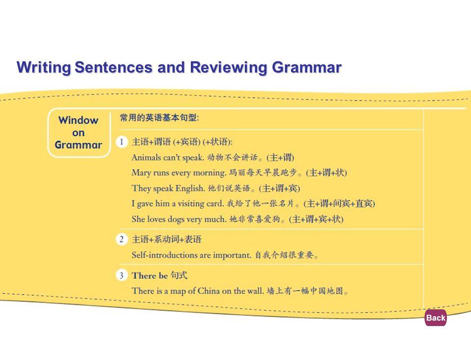 Writing Sentences and Reviewing Grammar
