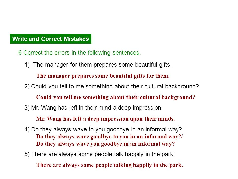 Write and Correct Mistakes