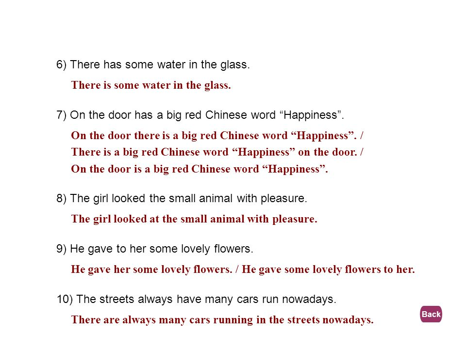 6) There has some water in the glass.