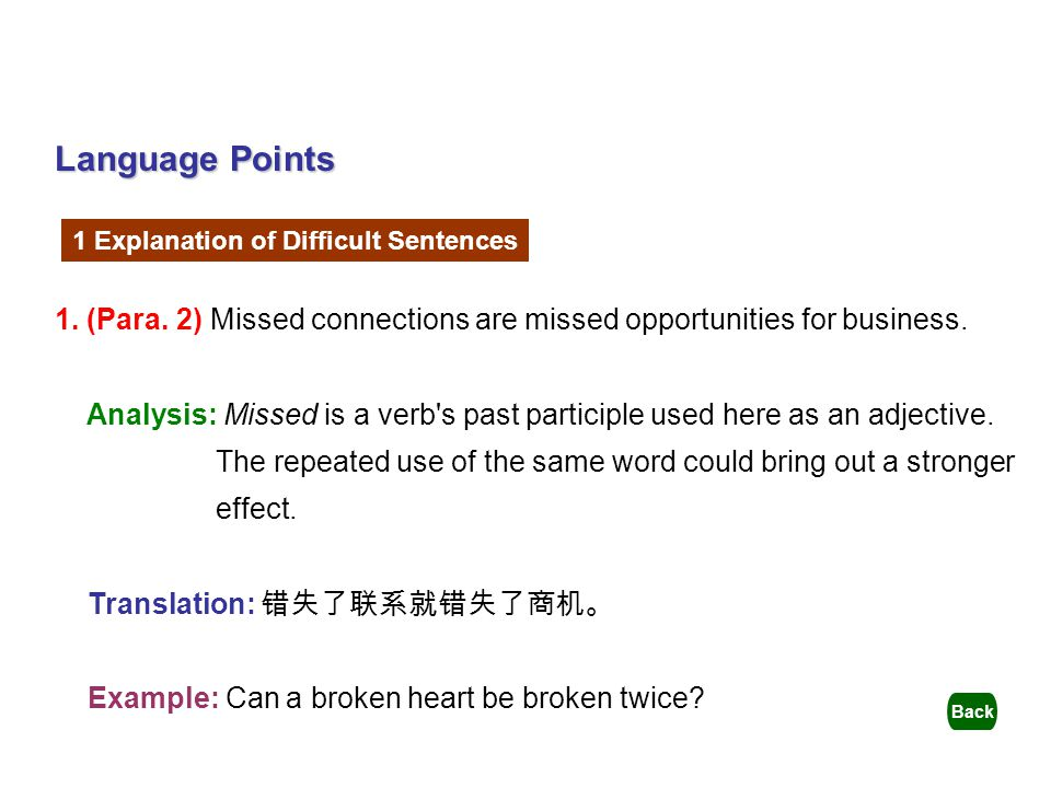 Language Points 1 Explanation of Difficult Sentences. 1. (Para. 2) Missed connections are missed opportunities for business.