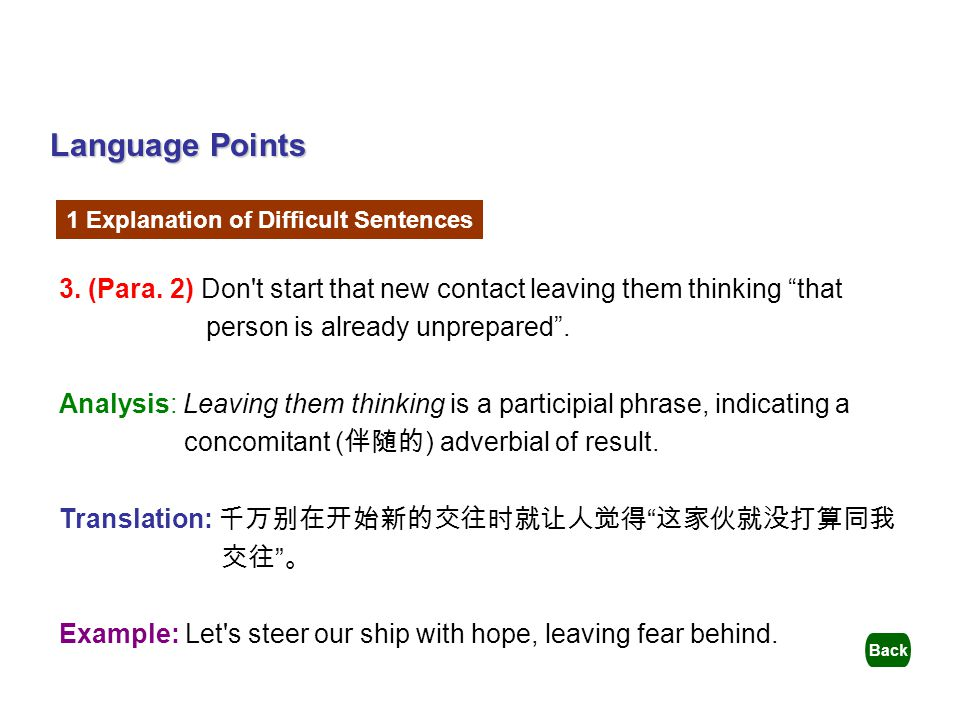Language Points 1 Explanation of Difficult Sentences. 3. (Para. 2) Don t start that new contact leaving them thinking that.