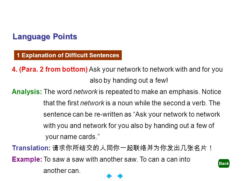 Language Points 1 Explanation of Difficult Sentences. 4. (Para. 2 from bottom) Ask your network to network with and for you.