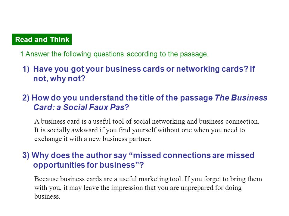 Have you got your business cards or networking cards If not, why not
