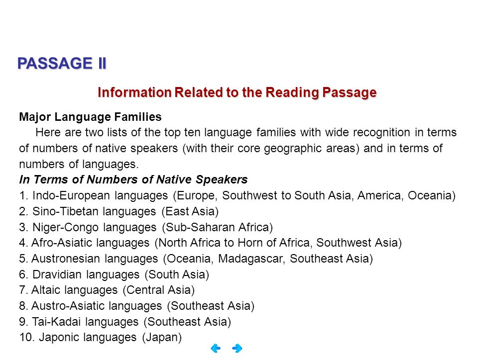 PASSAGE II Information Related to the Reading Passage