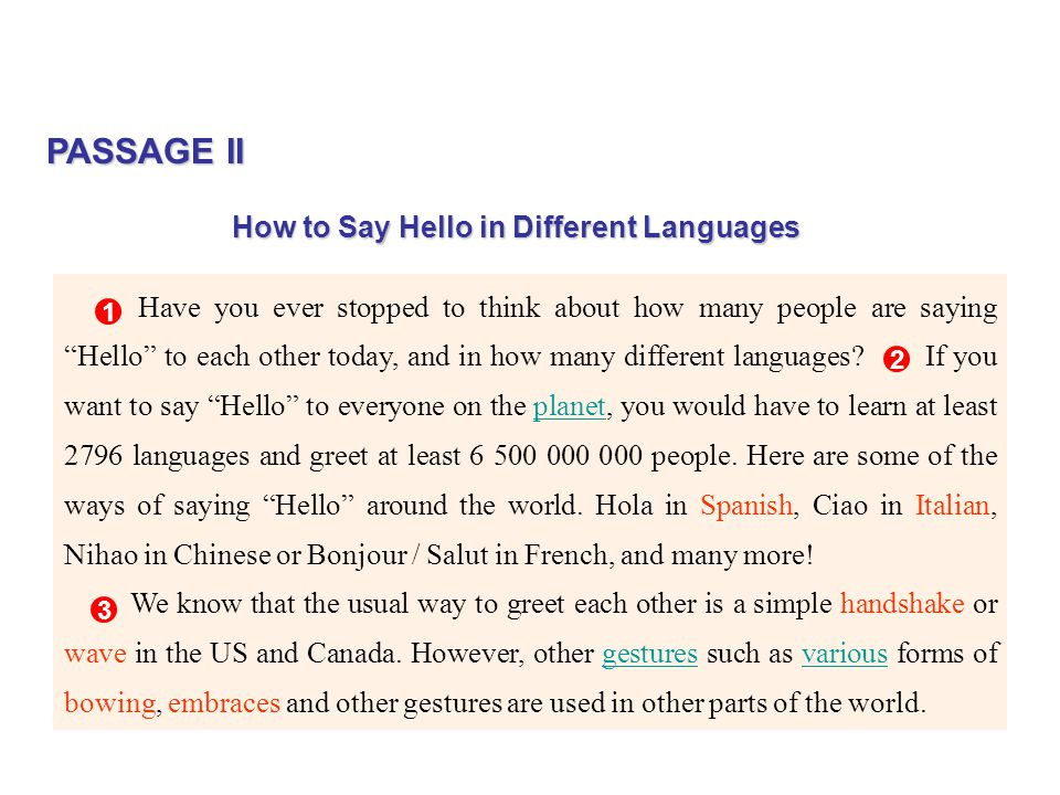 PASSAGE II How to Say Hello in Different Languages