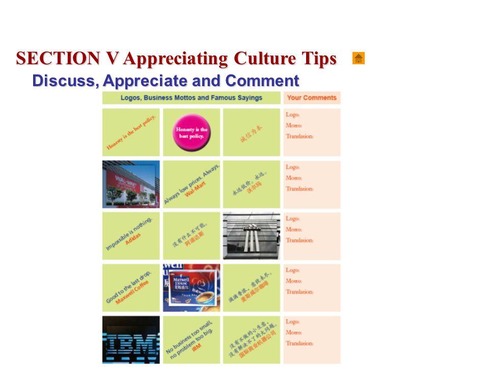 SECTION V Appreciating Culture Tips