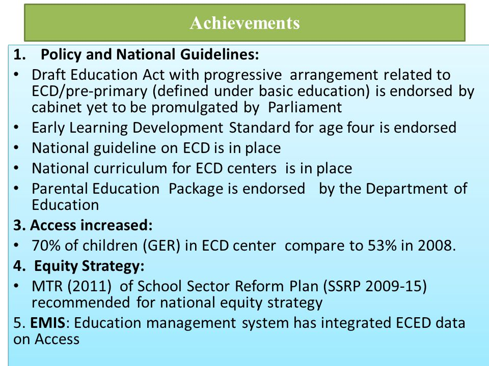 Achievements Policy and National Guidelines: