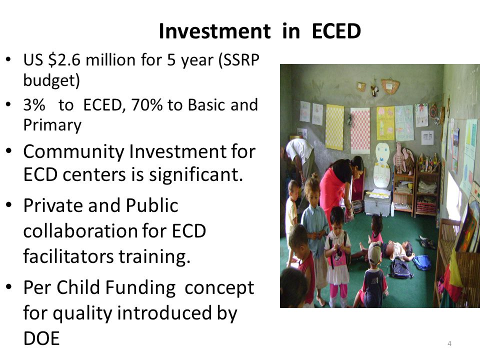 Investment in ECED US $2.6 million for 5 year (SSRP budget) 3% to ECED, 70% to Basic and Primary.